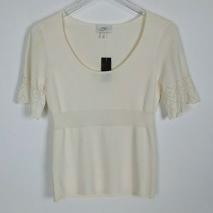 Ann Taylor Loft Womens Beige Sweater Short Scallop